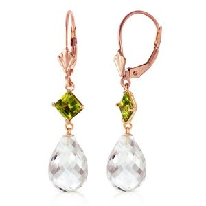 GOLD LEVER BACK EARRING WITH PERIDOT & WHITE TOPAZ